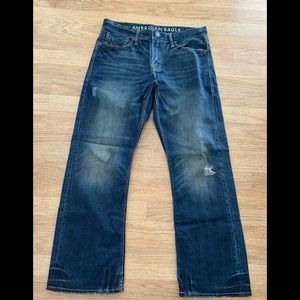 American Eagle Boot Cut DarkWash Distressed Jeans